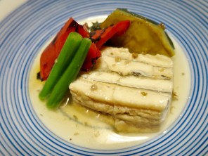 Nimono (simmered) course - Eel, eggplant, red bell pepper
