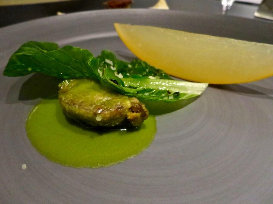 #9 - Cloche/Bone - veal cheek, chamomile, galia melon