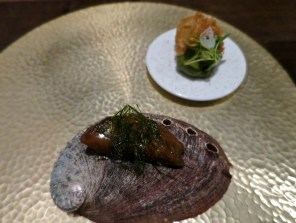 #8 grilled abalone and abalone liver toast