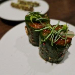 #17 side - cucumber, kimchi, oyster leaf - Benu, SF, Oct 2016