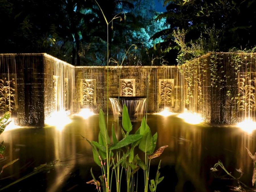 Our villa waterfalls at night. Banyan Tree Phuket.