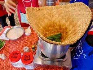 Making sticky rice - pandan goes on the bottom