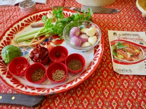Ingredients for fresh Red curry paste