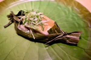 Eight Tables Black cod wrapped in banana leaf