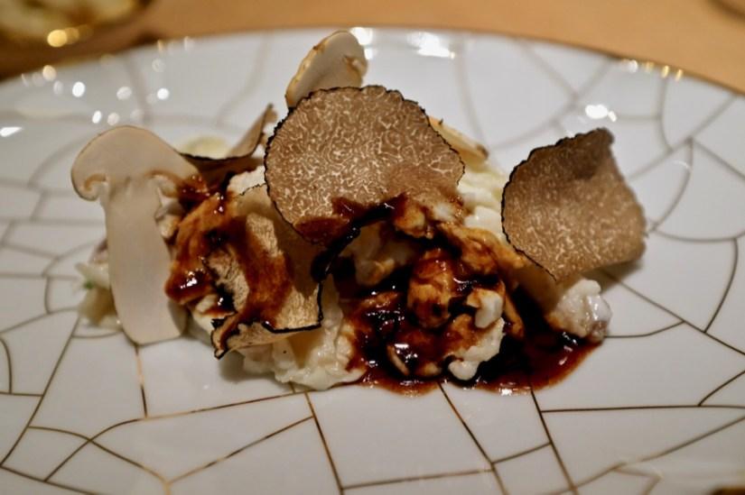 Velvet Chicken, burgandy truffles, trumpet mushroom, veal jus