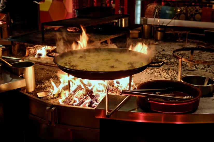 Paella Mixta being cooked