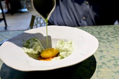 Disfrutar - Pandan, coconut foam, mango sorbet and pearls