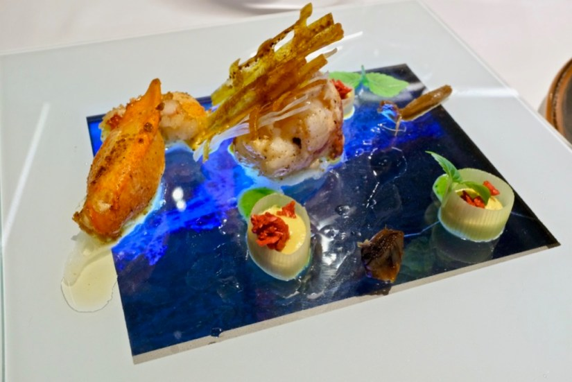 Arzak - Lobster with bee's pollen, banana, basil, acorn, berry