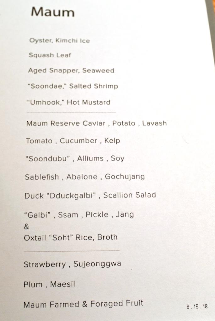 Maum - Dairy-free dinner tasting menu