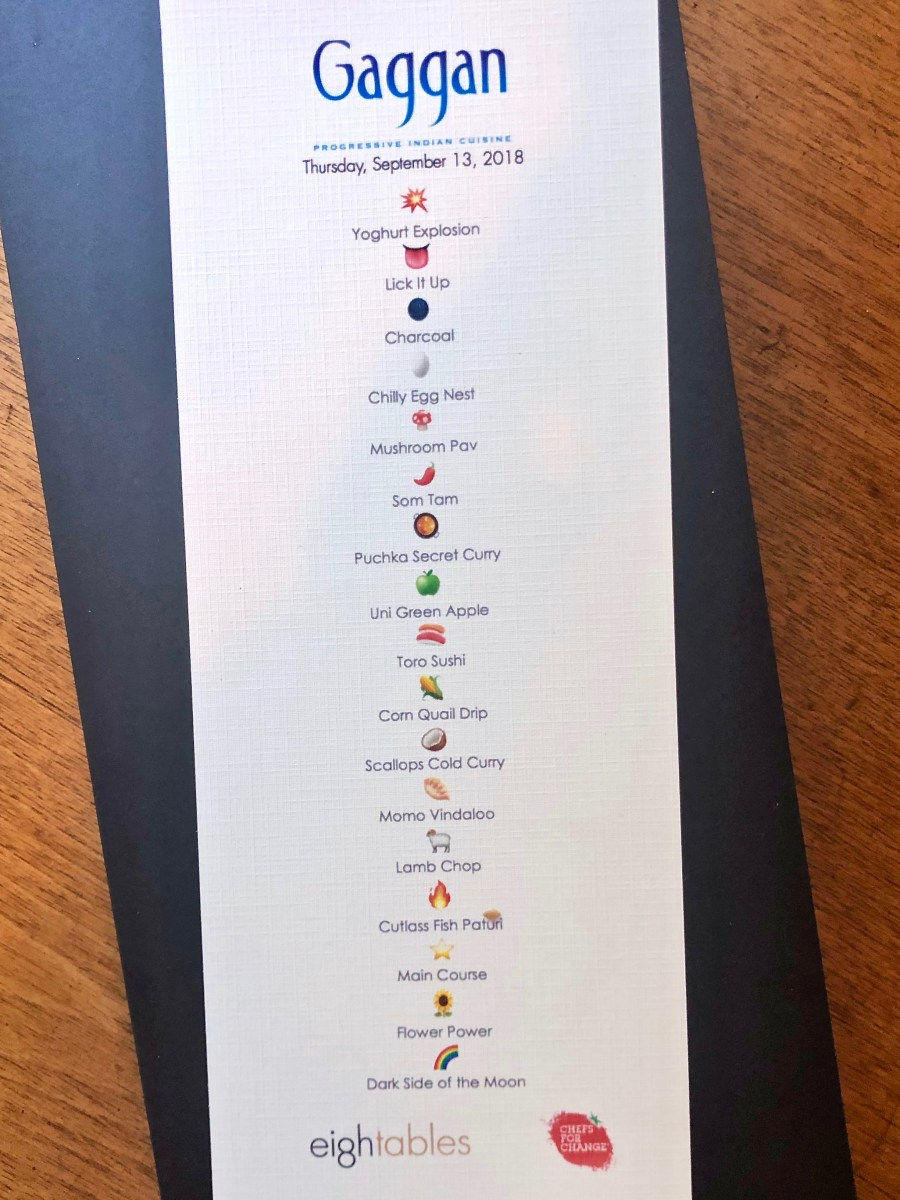 Gaggan at Eight Tables - Emoji Menu with Course Names
