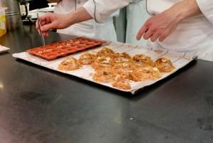 Epicure - Kitchen dessert station - assembling the hazelnut from Cervione