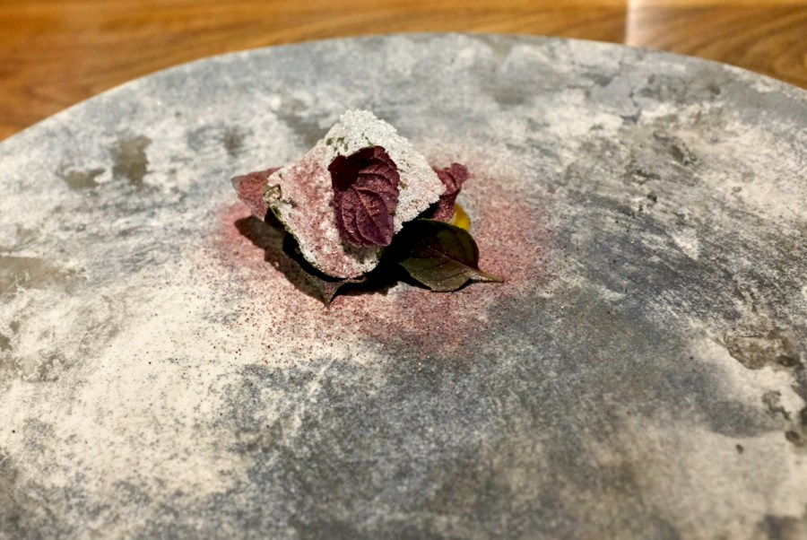Dialogue LA - Fennel-Smoked Ice Cream, fermented peach, red shiso