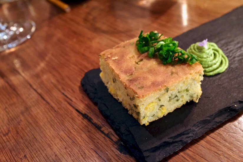 Anomaly - Miso Scallion Cornbread, Basil Compound Butter