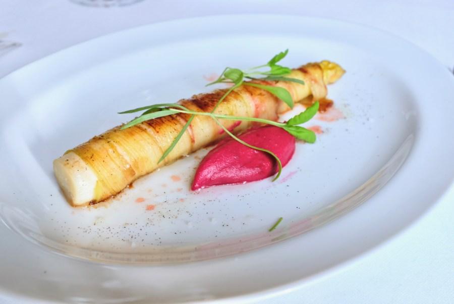Arpege - White Asparagus, rhubarb wrap, beetroot, smoked shallot