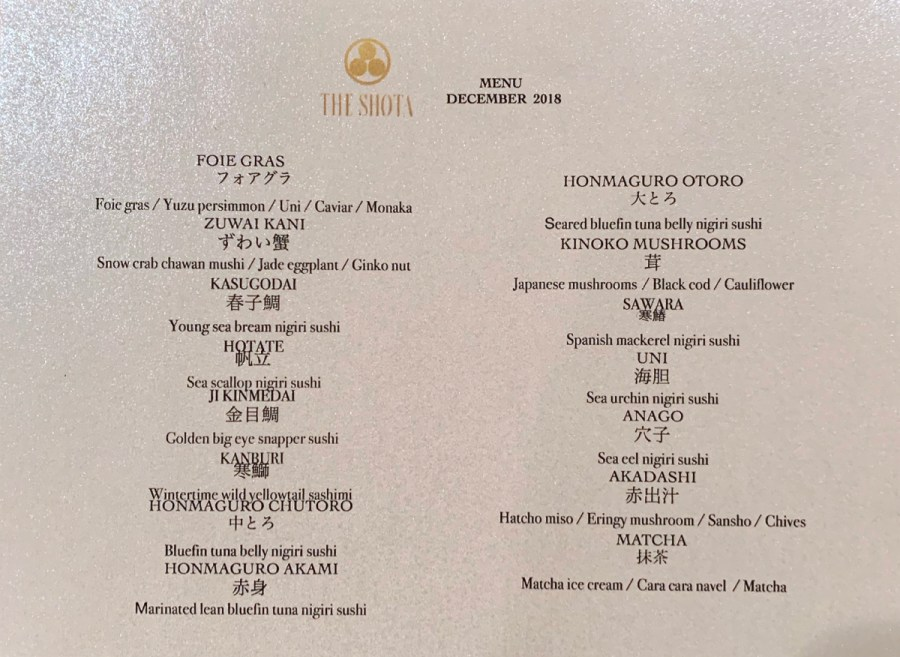The Shota - December 2018 Tasting Menu with Details