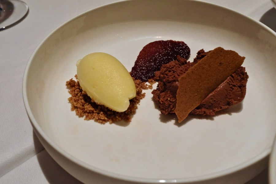 Mikla - Intense Chocolate, Hardaliye & Deveci Pear, Orange Sorbet, Poppy Seed