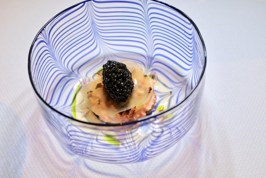 Quince SF - Tsar Nicoulai Caviar, Calfornia King Salmon, Flowering Chives. Dish 1 of 2