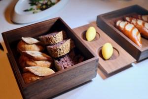 Quince SF - Bread and butter - black rye sourdough, onion feta cheese, pretzel