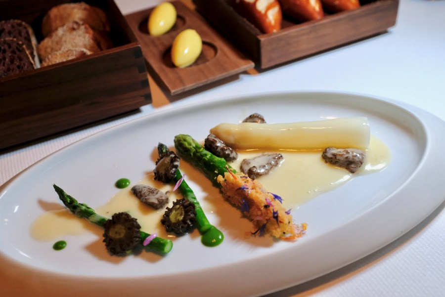 Quince SF - Asparagus Variegated, Green and White, Morel Mushroom, Morel Sauce