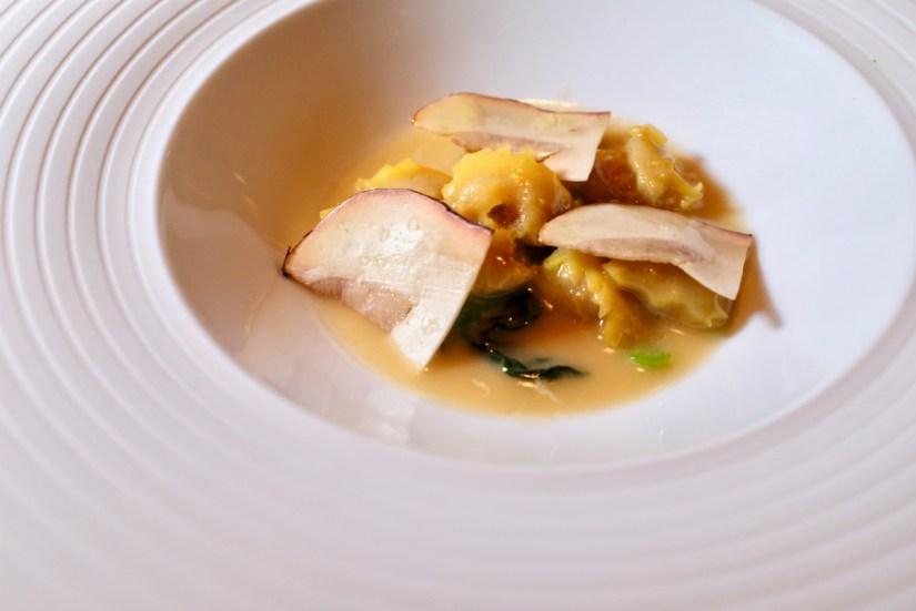 """Quince SF - Dry Aged Sonoma Duck, Agnolotti del Plin """"2003"""", Shaved Porcini, Fava Bean. Dish 1 of 2."""