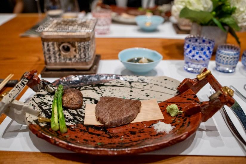 Hiroshi - Hibachi grilled A5 Drunken Wagyu, grilled asparagus, shiitake mushroom, truffle salt, ponzu sauce, real wasabi