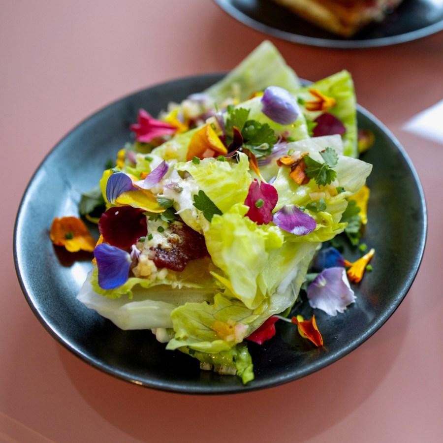 Birdsong Birdbox -Wedge salad - smokey tomatoes and peppers, lamb prosciutto, sheep's milk cheese