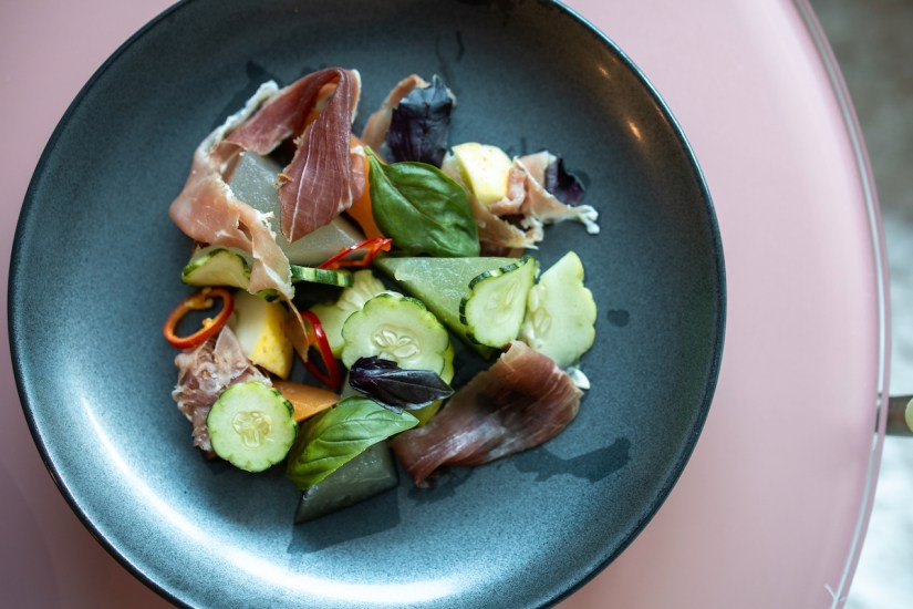 Acquerello - Cucumber and heirloom melon, speck ham, pickled fresno chili and basil