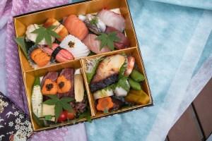 Hiroshi Takeout - Sushi Makunouchi Bento Box - Ten Pieces Nigiri Sushi, Two Wagyu Beef Nigiri, Mini Yuke Donburi, Kyoto Miso Marinated Butterfish, Vegetable Takiawase