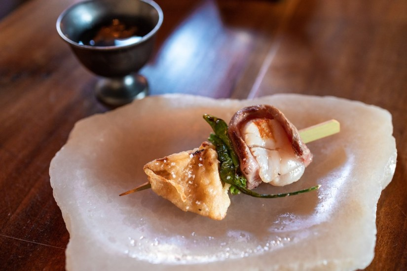 Kibatsu SF - Seared wagyu wrapped scallop, blistered shishito, lion's mane mushroom, wagyu soup