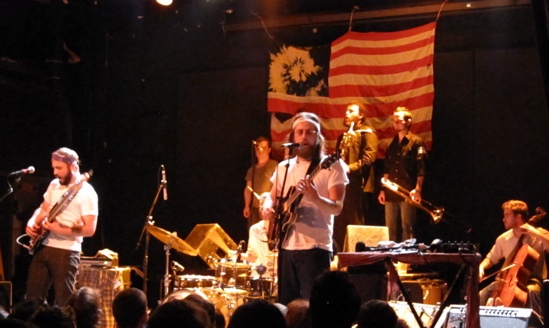 Seth Olinsky (center), performing with his band Akron/Family at NYC's Bowery Ballroom on May 6 will be a section leader for Rhys Chatham's <i>A Crimson Grail (Outdoor Version)</i> at Damrosch Park in August.