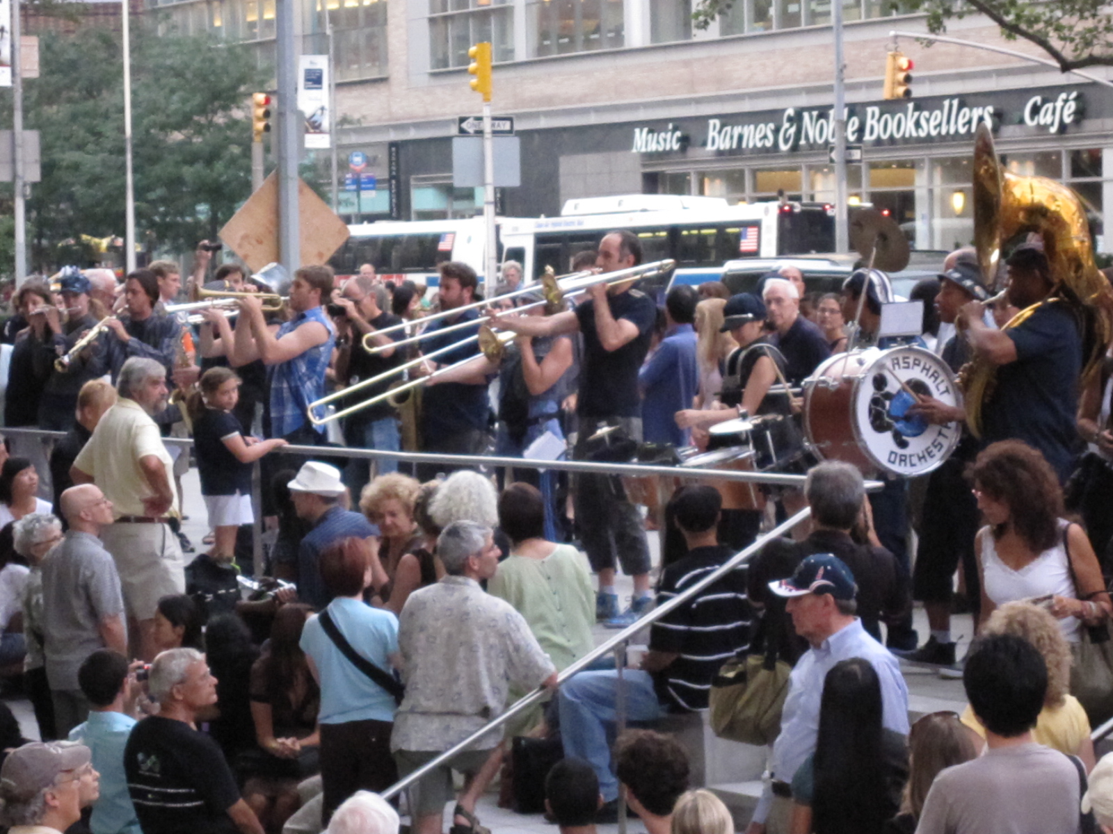 "The audience for Asphalt Orchestra's debut and world premiere of Stew and Heidi's ""Carlton"" was so thick the marching band could barely move at times. (Copyright 2009 Steven P. Marsh)"
