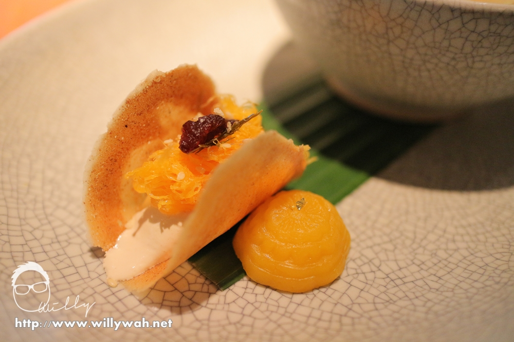 Sweet Thai wafers with poached persimmon and golden duck egg noodles