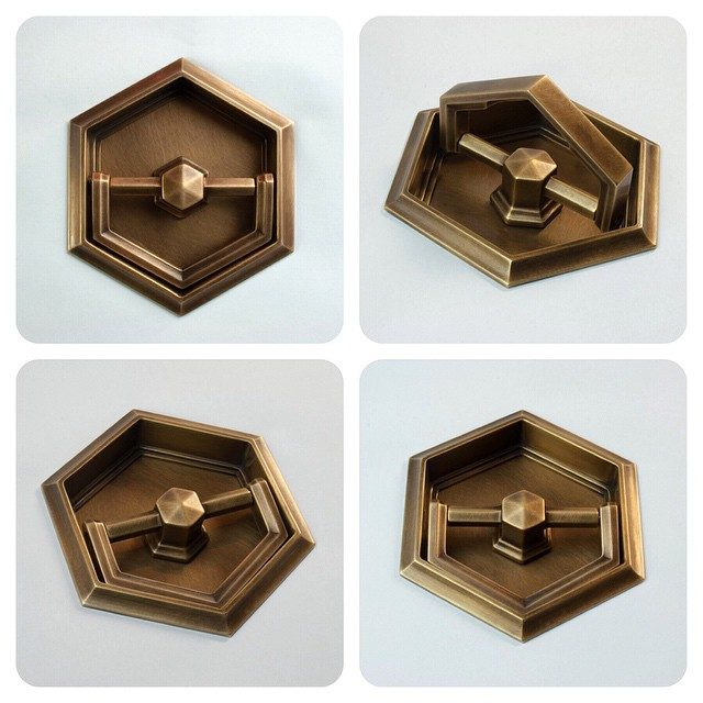 Liederbach & Graham recessed pull to be installed on embrasure doors in a Chicago apartment | burnished antique brass