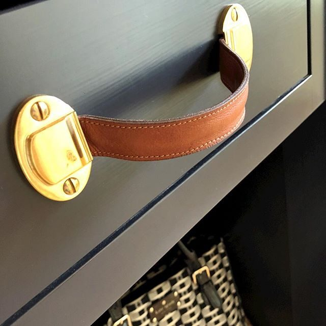 leather and in-lacquered brass on hand painted cabinets