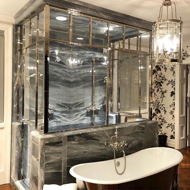 polished nickel shower enclosure
