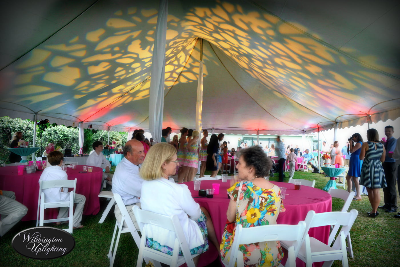 Under tent event lighting with gobo pattern & Tent Top Lighting