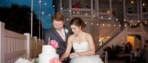 Making Memories Ocean Isle Beach reception event lighting cake cutting
