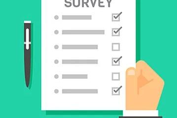 Flat design hand holding survey test paper