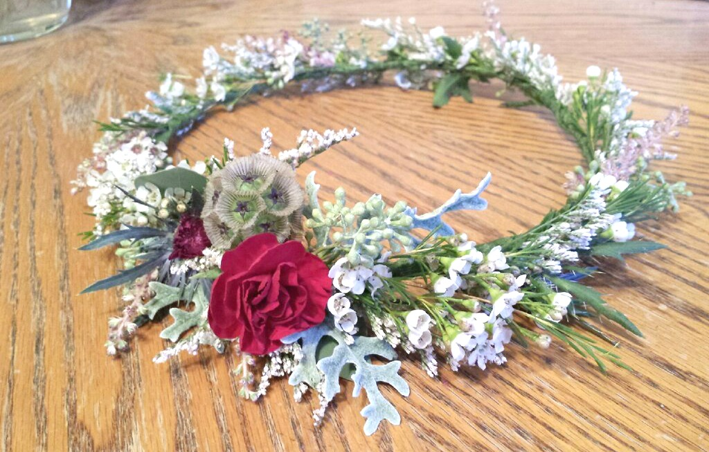 cranberry gray floral bridal crown wilsons floral design helotes