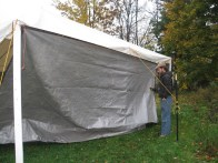 setting up the tent and the wind shield