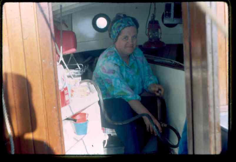 Joanne bails the boat