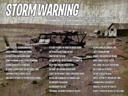 Storm Warning Lyric Sheet - Artwork © Wily Bo Walker. All Rights Reserved
