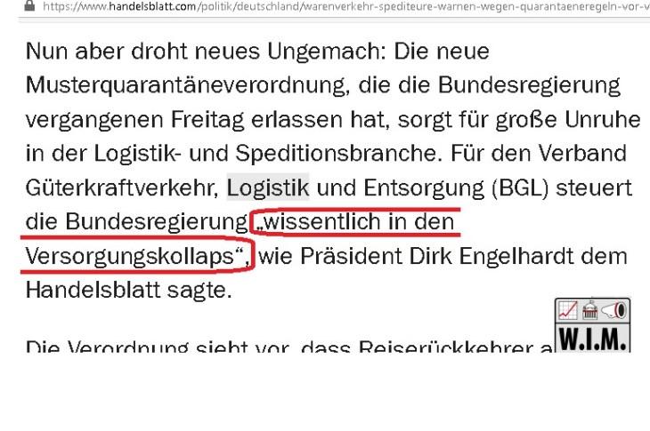 Handelsblatt-Zitat Verbandssprecher Logistik