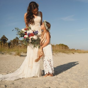 Special moment with bride and her flower girl after the wedding ceremony near the Westin Hilton Head.