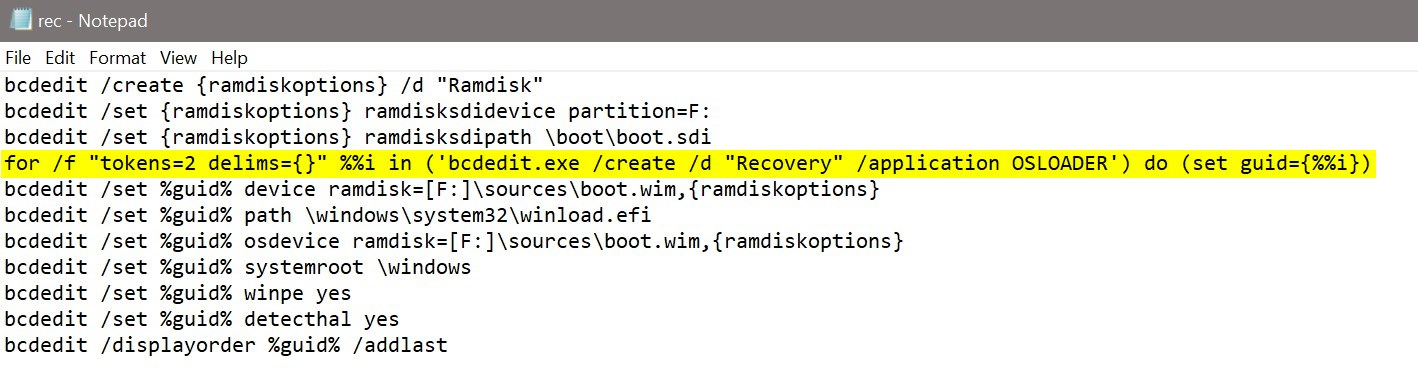 """Create a custom Windows 10 """"factory recovery"""" partition"""