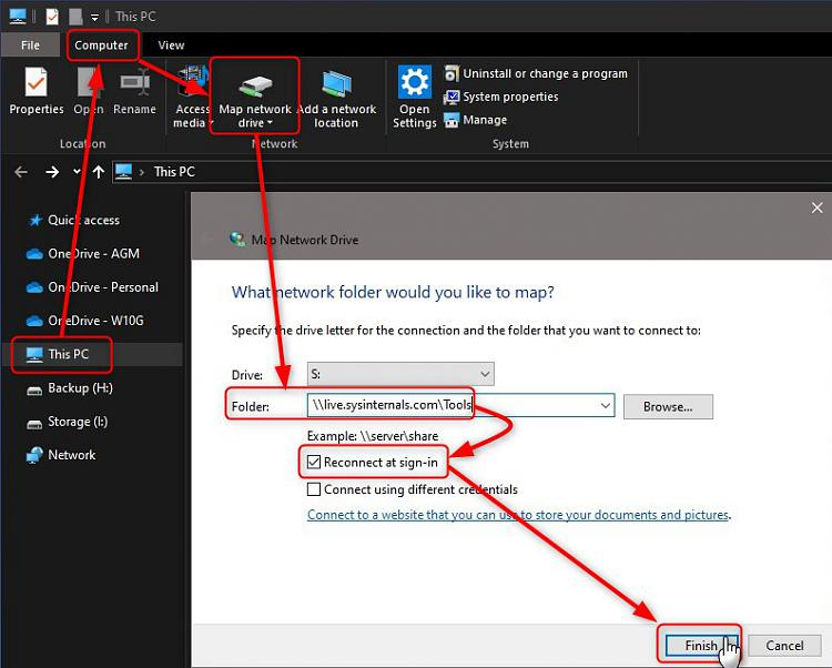 Add Windows Sysinternals as mapped network drive to Windows