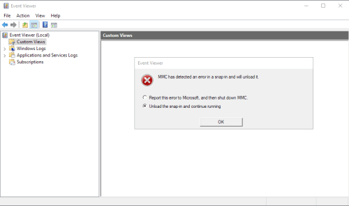 Win10 Event Viewer Fails After KB4503293 Or KB4503327.init-msg