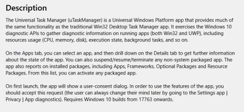 uTaskManager Offers UWP View on Windows 10 OS.sec