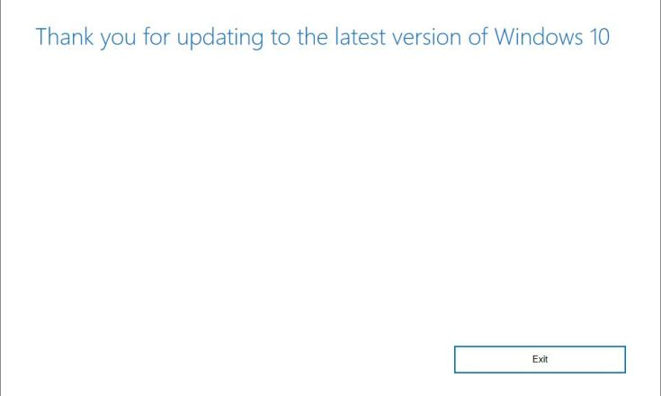 Conclusion of Win10 Update Assistant: Thanks!