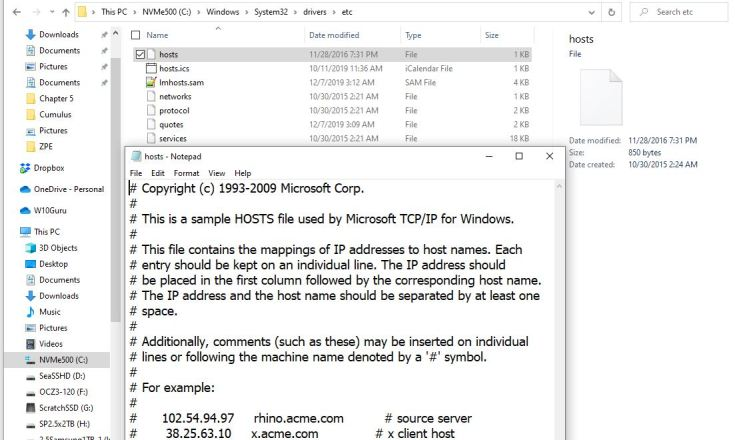 Win10 default HOSTS file is quite small and empty